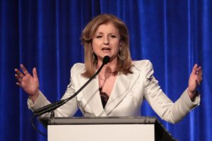Arianna Huffington giving a spech