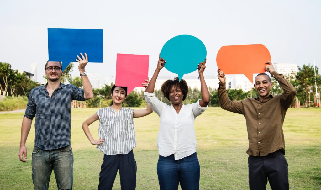 speech bubble people and marketers