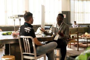 Interview setting between two men