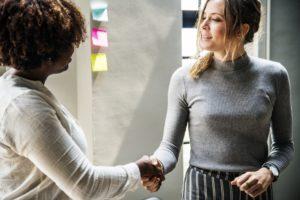 A handshake between two professionals
