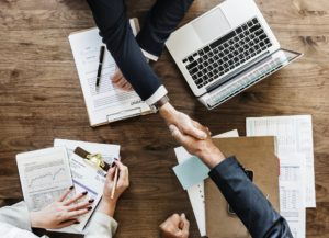 Business handshake after an interview