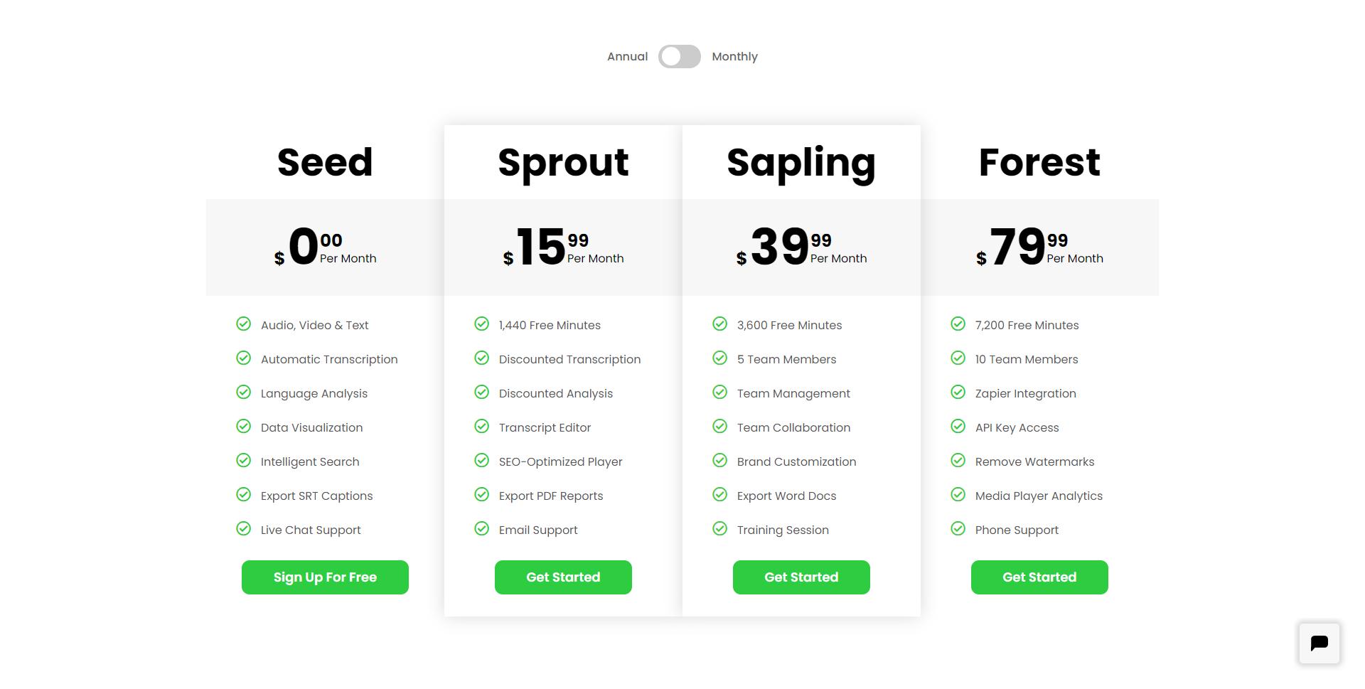 Speak Ai pricing page